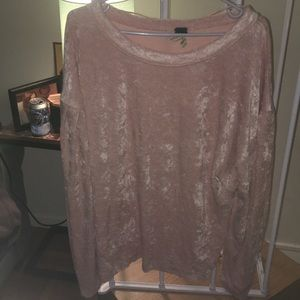 Free People Velour sweater with bloom sleeves